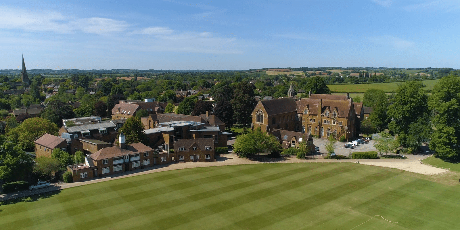 Drone shot of strawberry terrace of the school