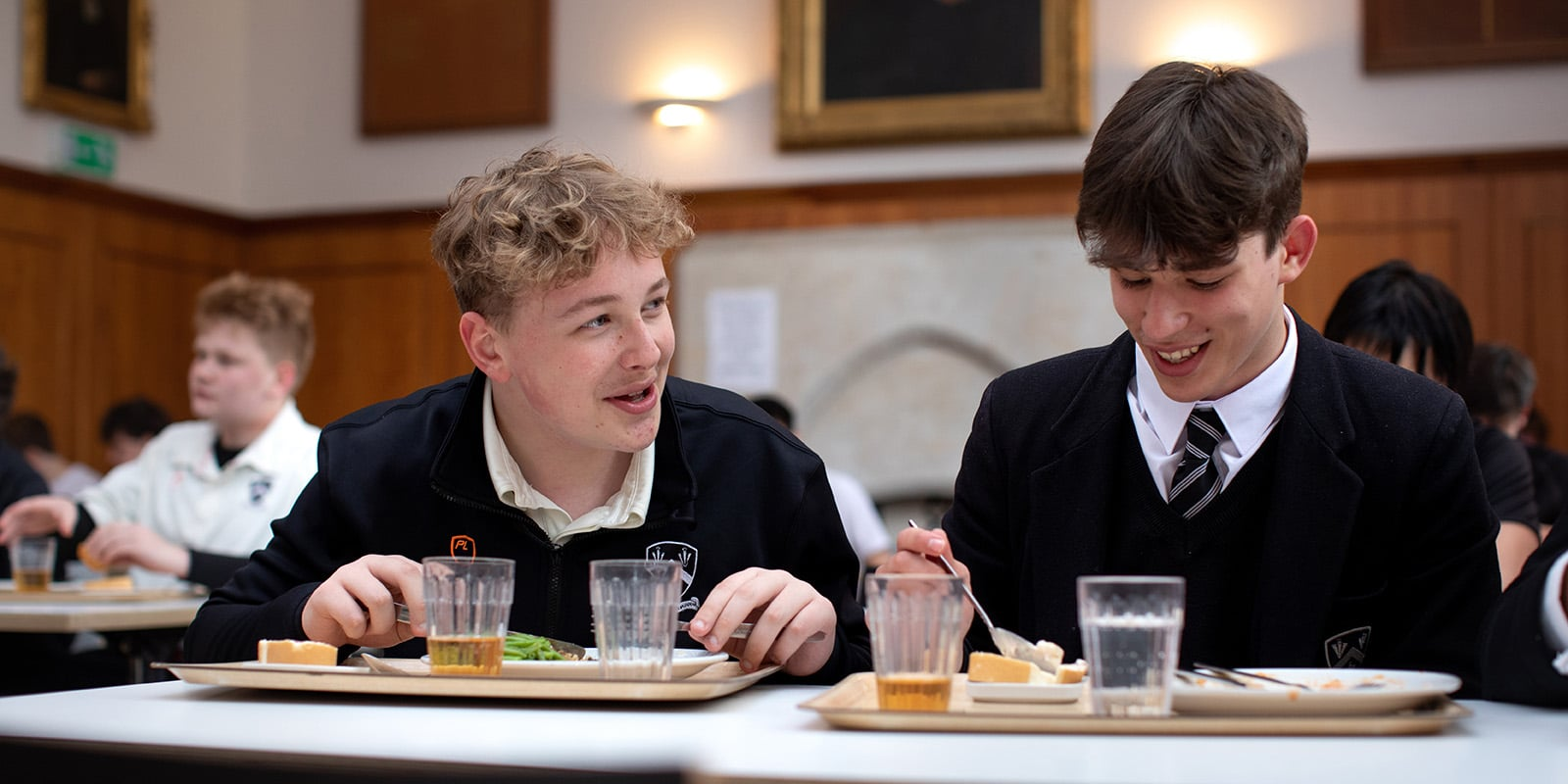 students in the lunch hall; Catering